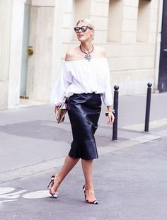 Wear a billowy peasant blouse tucked into a lengthening pencil skirt for an ultra-lean figure.