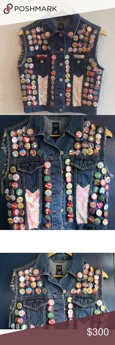 GAP Denim Vest Handmade buttons and stitching by me! Took an original GAP denim jacket and turned it into a vest. Over 200 buttons designed by me and sequin fabrics stitched! Featured in an art gallery in NYC    Size: SMALL GAP Jackets & Coats Vests