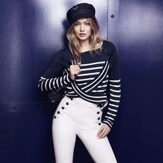 Welcome to the new nautical: the TOMMYXGIGI collection is a playful update of seafaring classics. Add nautical flair to your look with this navy blue cap. --with Gigi Hadid -- Estilo Gigi Hadid, Gigi Hadid Style, Fall Outfits, Casual Outfits, Fashion Outfits, Work Outfits, Fashion Tips, Fashion Trends, Alana Hadid