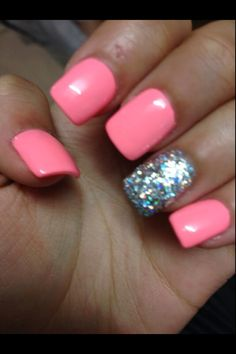 Pink w holo glitter accent