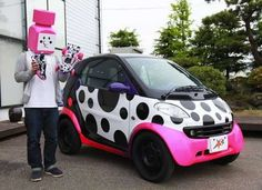 - Jun Watanabe moves towards nontraditional markets as he debuts a fluorescent smart car. Japanese Fashion Designers, Smart Fortwo, Smart Car, Funny Outfits, Clothing Tags, Cute Cars, Black White Pink, Car Wrap, Style And Grace