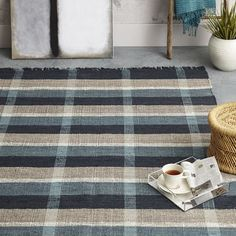 Mid-Century Rustic Cotton Plaid Rug - Belgium Blue | west elm