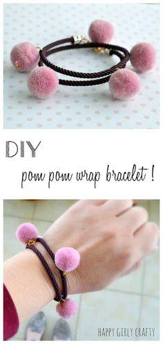 DIY pom pom wrap bracelet