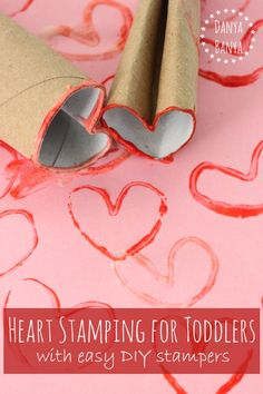 Heart Stamping for toddlers with easy DIY stampers ~ Danya Banya Valentine Crafts For Kids, Valentines Day Activities, Crafts For Kids To Make, Valentine Day Crafts, Craft Activities For Kids, Toddler Activities, Valentine Ideas, Craft Ideas, Toddler Art