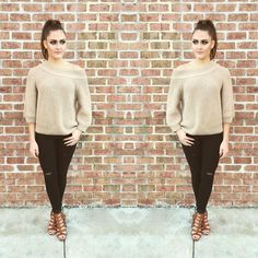 Bare shoulder with a soft edge  Riesling Sweater