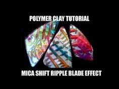 Polymer clay tutorial - 3D mica shift ripple blade effect in kind of a mokume gane - YouTube