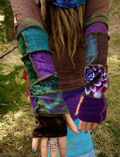 purple and green bohemian arm warmers