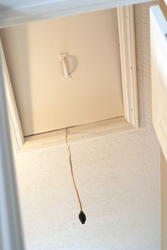 ceiling attic door | ... the attic access door in the upstairs bathroom, but it creeped me out Attic Access Door, Attic Doors, Drop Down Ceiling, Upstairs Bathrooms, Real Estate, Real Estates