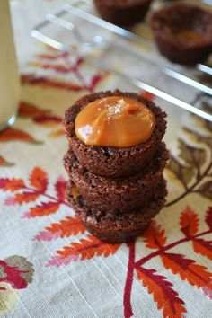 Salted Caramel Brownie Bites. Note: for the caramel, I would make slow cooker dulce de leche or melt Kraft caramels in microwave with a few tablespoons of milk.