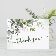 Shop Watercolor Eucalyptus Greenery Thank You Card created by Elle_Design. Thank You Cards, Thank You Card Design, Thank You Card Template, Card Making Inspiration, Making Ideas, Scrapbooking, Scrapbook Cards, Wedding Souvenir, Wedding Favors