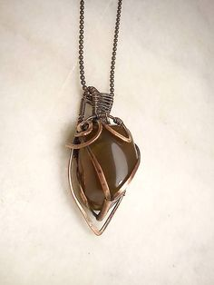 Náhrdelník Edison, wire pendant brown achat wrapping copper jewelry