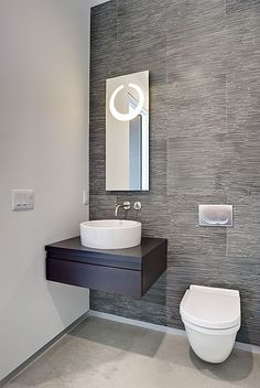 Wood, Concrete, Contemporary, Modern, Wallpaper, European, Vessel, Powder/Half Bath