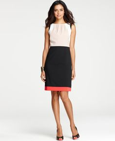 """Ann Taylor Colorblock Sheath Dress High contrast neutrals popped with bold, bright color creates the ultimate graphically chic look. Pleated jewel neck. Sleeveless. Hidden back zipper with hook-and-eye closure. Back vent. Lined. 20 1/2"""" from natural waist. - a must have!"""