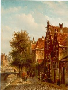 The artist lived and worked in Amsterdam. Painted in romantic style. Oil on panel.   His father Jan Jacob Spohler was born in Holland (1811...