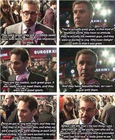 Paul Rudd, Will Ferrell, and Steve Carell talking about One Direction after SNL