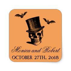 Wicked Halloween Chevron Orange Black Skull Bats Square Sticker - Halloween happyhalloween festival party holiday