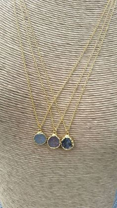 Round Druzy necklace, assorted colors druzy, 28K gold framed druzy pendant, Bohemian necklace, Layering necklace, Bridal jewelry