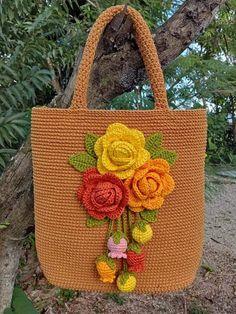 Crochet Backpack Pattern, Crochet Purse Patterns, Crochet Basket Pattern, Holiday Crochet, Crochet Gifts, Crochet Handbags, Crochet Purses, Flower Bag, Filet Crochet