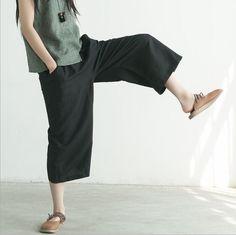 Art casual black linen loose wide leg pants