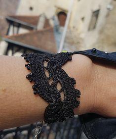 Black lace bracelet crocheted with fine silk #crochetbracelet #blackbracelet #silkbracelet #lacebracelet #womenbracelet #blackjewelry #gothicjewelry Lace Bracelet, Crochet Bracelet, Black Jewelry, Gothic Jewelry, Handmade Bracelets, Earrings Handmade, Unique Crochet, Blue Pearl, Black Laces