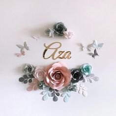 Pastel Paper Flowers for Baby Girl Nursery Wall Decor Royal