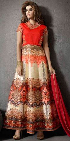 Elegant Beige And Red Silk Anarkali Suit With Chiffon Dupatta.