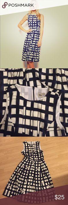 Navy Asos checked pleated midi dress Size 6- navy Asos dress. MIDI length with back zip. Never worn! ASOS Dresses Midi