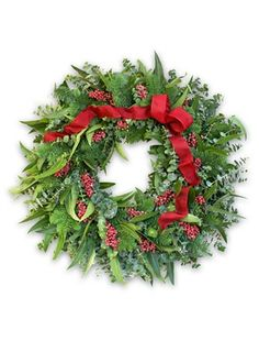 Red Ribbon Eucalyptus Berry Wreath is composed of a fragrant combination of freshly harvested fir and spiral and knife blade eucalyptus for a distinctive holiday scent.