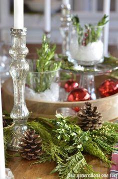 winter greenery table settings - Google Search