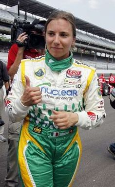 IndyCar driver Simona de Silvestro, of Switzerland, reacts after her run on the final day of qualifications for the Indianapolis 500 auto race at the Indianapolis Motor Speedway in Indianapolis, Sunday, May 20, 2012. (AP Photo/Tom Strattman) #Indycar
