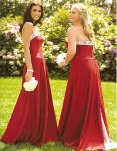 Long Red Bridesmaid Dresses, Strapless. Confetti and Lace Bridals.