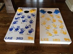 Corn Hole personalized by students in school colors Classroom Auction Projects, Art Auction Projects, Class Art Projects, Art Classroom, Auction Ideas, School Projects, Diy Projects, Solar System Crafts, Auction Baskets
