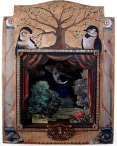 Fairyland Theatre (too many pics) - CRAFTSTER CRAFT CHALLENGES - So, here is what I made. A sort of fairy land paper theatre. Toy Theatre, Shadow Theatre, Paper Art, Paper Crafts, Assemblage Art, Fairy Land, Paper Toys, Box Art, Altered Art
