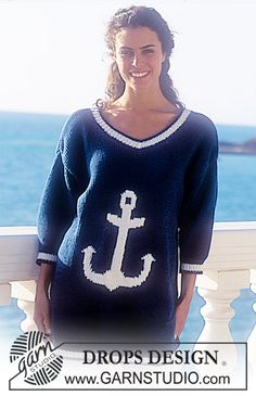 """DROPS 33-15 - Drops short sleeved sweater with anchor motif in """"Paris"""". - Free pattern by DROPS Design"""