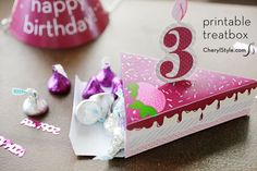 Party favors go home in style with our free printable birthday cake boxes. Card stock, hot glue or tape and your trusty precision knife make it super easy.
