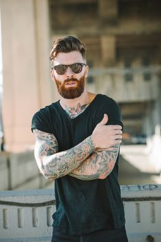 Beard + Undercut + Tattoos = Heaven. Click to learn more about Levi Stocke's signature glasses. ($124)