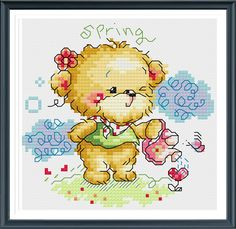 Lovely Bear s143, Counted Cross Stitch Pattern, Instant Download by AprilBeeShop on Etsy