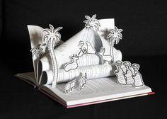 Belén orignal hecho con un libro Decoración navideña por MarielleJL