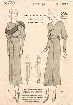 shop dress patterns - A 1932 style dress with art deco geometric seam detail and detachable cape with or without fur trim. The dress features four-piece flared skirt attached at natural waistline and two styles of wrist length sleeves. Old Dresses, Vintage Dresses, Fur Trimmed Cape, Nautical Fashion, Vintage Sewing Patterns, Vintage Lingerie, Flare Skirt, Pattern Fashion, Vintage Ladies