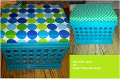 I could totally do these in our color scheme for the play room!  Another pinner said: Milk Crate Seats for my Ocean Themed Classroom (blues and greens)