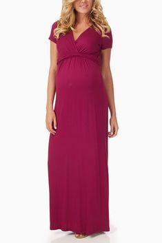Magenta Maternity/Nursing Maxi Dress #maternity #fashion
