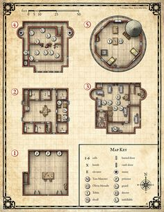 The Anatomist's Tower is large RPG battle map, originally created for Issue of No Quarter Magazine by Privateer Press. Fantasy Castle, Fantasy Map, Rpg Maker, Pathfinder Maps, Pen & Paper, Building Map, Map Layout, Dragon Rpg, Dungeon Maps