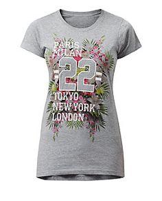 Grey Paris Milan 22 Tropical T-Shirt  | New Look