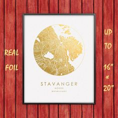 Stavanger 16x20 City Map Gold & Silver Print Real