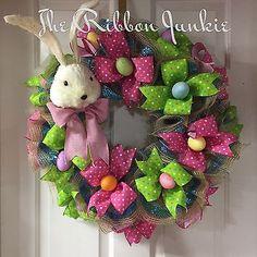 Easter Rabbit Wreath, Easter Bunny Wreath, Spring Wreath, Easter Egg Wreath,