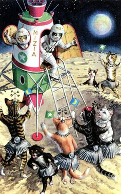 I have no info to credit this. It's cats. In space. Catstronauts.