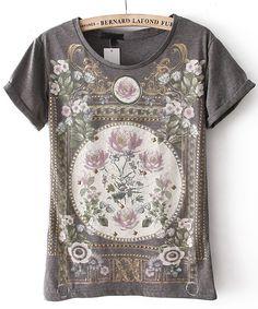 Grey Short Sleeve Floral Cotton T-Shirt - Sheinside.com