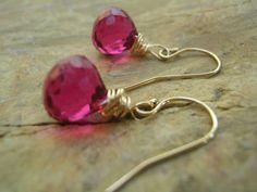 Red Violet Quartz Earrings Wrapped in 14K Gold by KottageKreations, $33.00