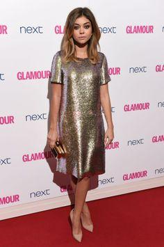 Love this metallic Gucci dress on Sarah Hyland