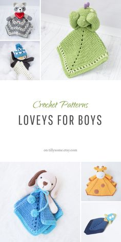 Crochet Loveys with cute design are easy to make. PDF patterns contents detailed instructions and many photos to help you.Adorable crochet loveys for boys. If you have been looking for what to crochet for a newborn boy this post is for you. Crochet Lovey Free Pattern, Boy Crochet Patterns, Crochet Gratis, Crochet Amigurumi, Crochet Dolls, Baby Patterns, Poncho Patterns, Loom Patterns, Crochet Security Blanket